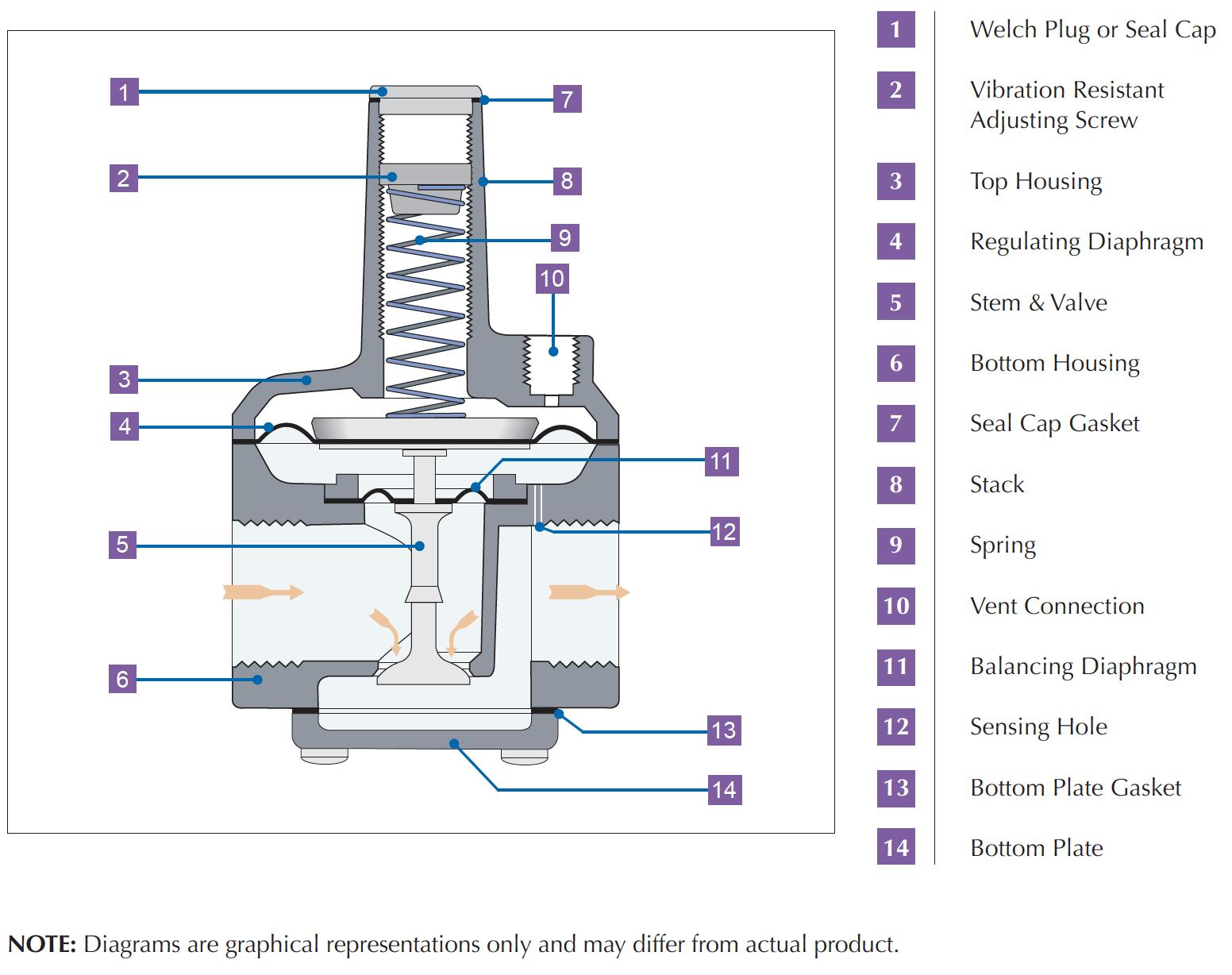 Cutaway diagram of the balanced-valve-design RS Series
